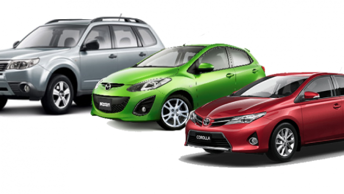 3 car line up Omega Car Rental New Zealand