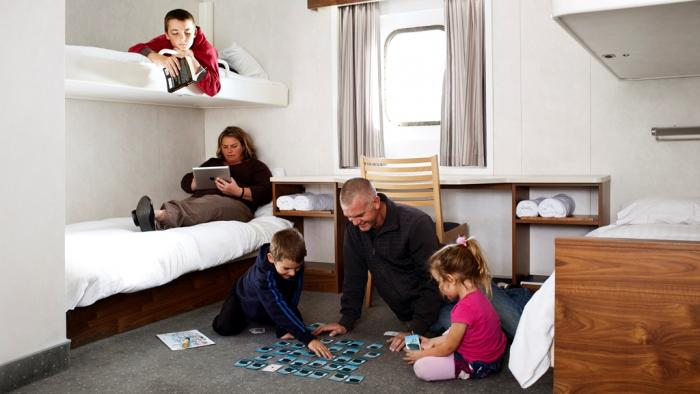 Family in four berth cabin low res Bluebridge  - The Cook Strait Ferry Service