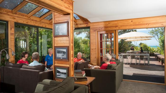 Torrent Bay Living Room to deck compr Wilsons Beachfront Lodges Abel Tasman National Park