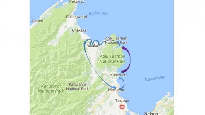 map ATGB Medium Day Tours in the Abel Tasman Area