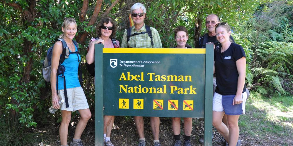 Hikers happy in Abel Tasman National Park Web Wilsons Abel Tasman Tours