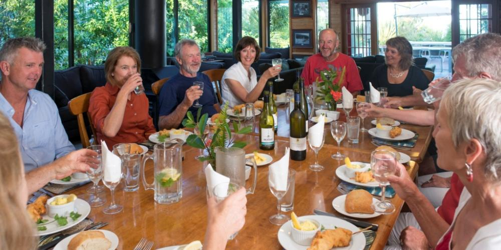 TB Dinner groupLR Wilsons Abel Tasman Personalised Tours and Guides